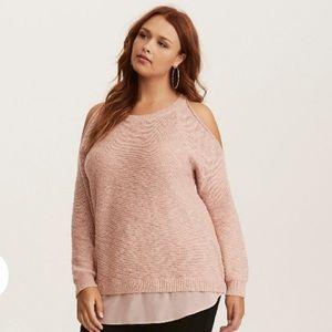 Torrid Blush Cold Shoulder Layered Look Sweater